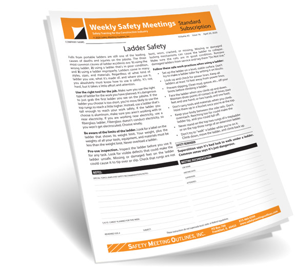 Construction Weekly Safety Meetings Safety Meeting Outlines